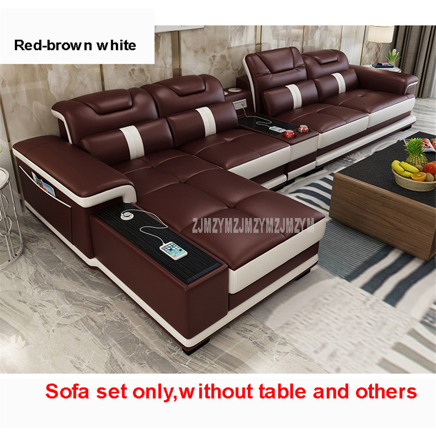 US $1363.91 15% OFF|1Set 4 Seat First Layer Real Leather Living Room Sofa  Set Corner Sofa Set With Bluetooth Speaker Function Modern Home  Furniture-in ...