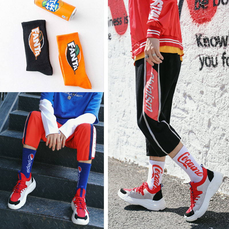 CHANGHAI 1 Pair Hip Hop Men Colorful Combed Cotton Trendy Wedding Long   Socks   Tide Brand Cola Funny   Socks   Europe Harajuku Crew