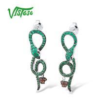 Vistoso 925 verde Pendientes de gota joyería Pendientes verde ronda verde ágata nano cúbicos ZIRCON mujeres joyas