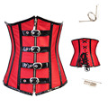 Red/black Gothic Zipper underbust Corset Burlesque Steampunk Clothing Steel Boned Costume Showgirl Leather PU Plus Size S-2XL