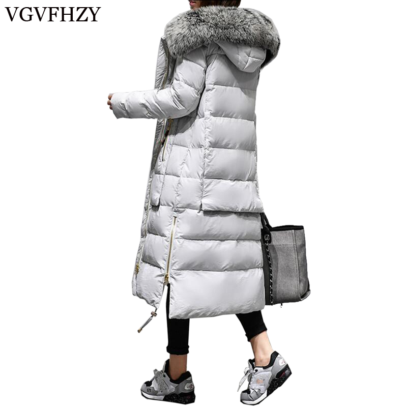 2017 New Winter Women 's Warm   Down     Coat   Long High quality Brand White Duck   Down   ladies Jacket Plus size Female parka for women