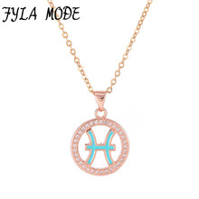 Fyla Mode Zodiac Charm Pisces Pendant Necklace Simple Design Jewelry Gift Micro Pave Zircon Gold/Silver Color Necklace For Women