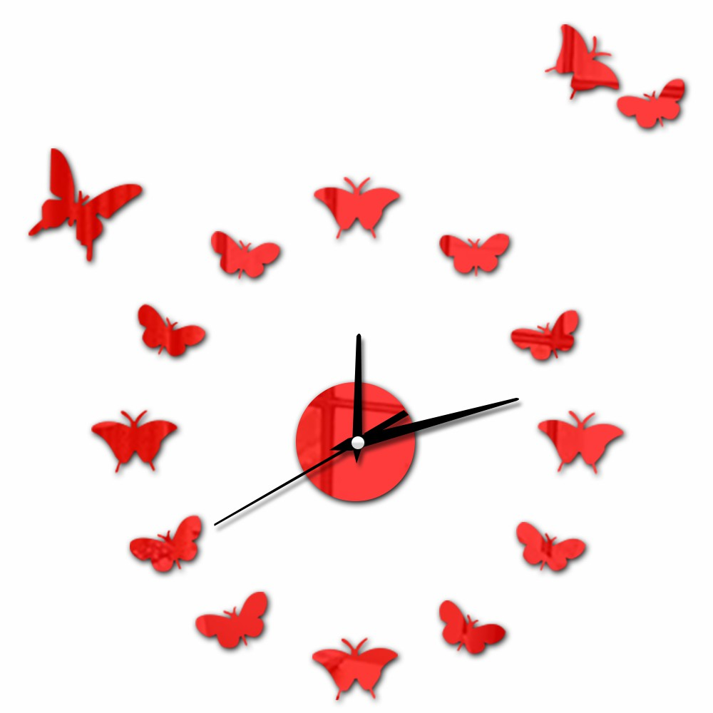 15 Butterfly Romantic Home Decor Wall Clock 3D DIY Self-Adhesive Wall Sticker Vintage Kitchen Decorative Clock