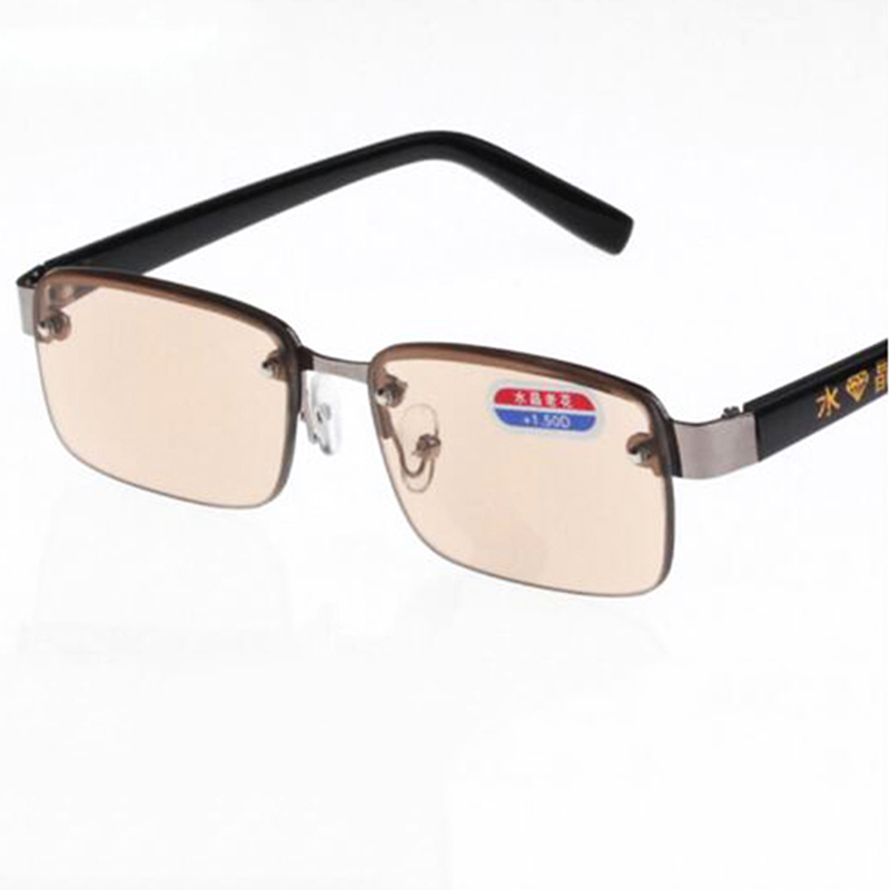 New Arrival High Quality Alloy Brown Lens Reading Glasses, Crystal Readers, Free Shipping