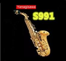 Yanagisawa S-991 Bb Saxofone Soprano Sax Saxofone de Ouro Esculpida Padrão Botões de Pérola Branca com Caso