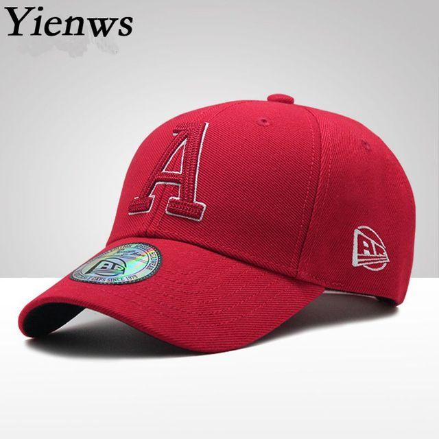 2d283a37dc2 Yienws Letter A Embroidery Bone Baseball Caps Men Women Summer Cotton Dad Hats  Red Black Chapeau Homme YIC609