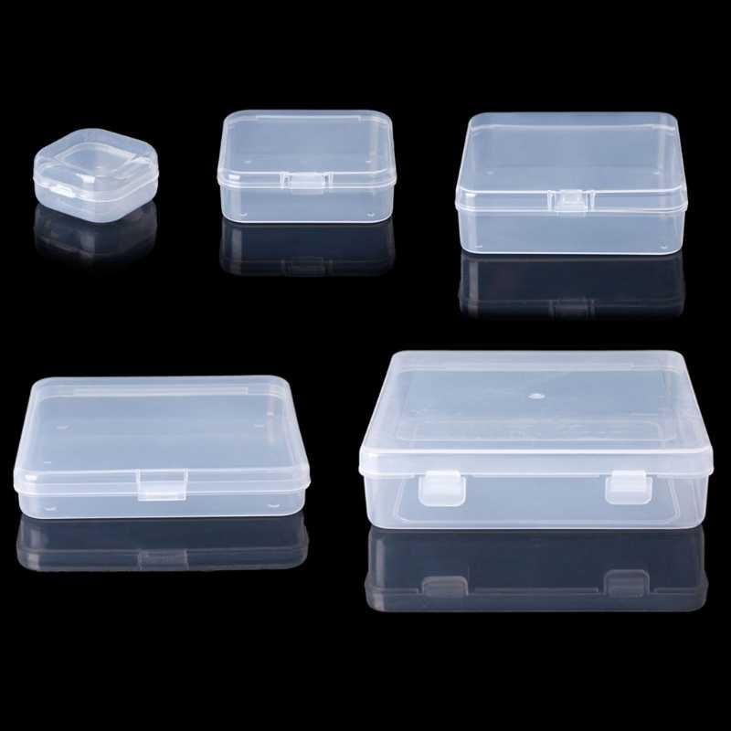 Квадратный прозрачный пластиковый ящик для хранения ювелирных изделий Кольцо с жемчужинами коробка серьги чехол Ожерелье Органайзер макияж стол коробка