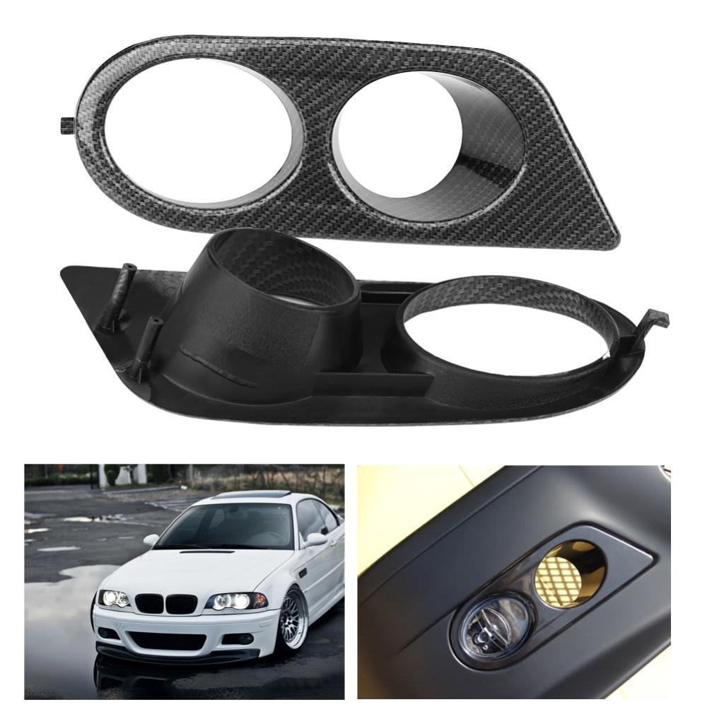 Car Fog Light Cover 1 Pair of Carbon Fiber Texture Front Bumper Fog Light Trims Air Duct Covers for BMW E46 M3 01-06 Car String стоимость