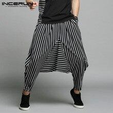 INCERUN Japan Style S-5XL Cross-pants Men Irregular Striped Patchwork Harem Pants Mens Trousers Big Male Drop Crotch Plus Dance