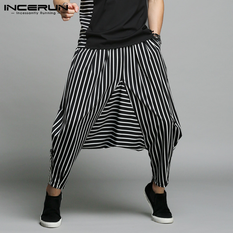 INCERUN Japan Style S-5XL Cross-pants hombres irregulares rayado Patchwork Harem pantalones de hombre Big Male Drop Crotch Plus Dance