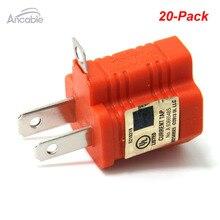 Ancable 3-контакт 2-зубец поляризационные заземления AC Мощность переходник 20-pack