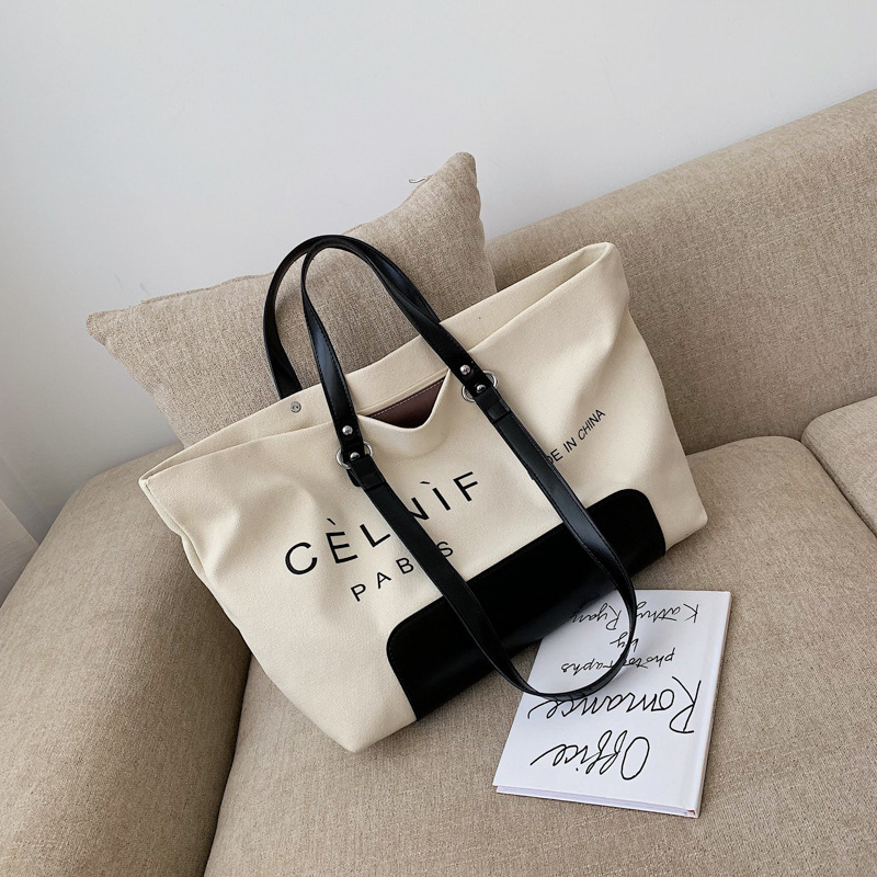 Female Big Tote Bags For Women 2019 High Quality Canvas Luxury Handbags Designer Sac A Main Ladies Letter Shoulder Bag