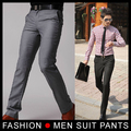 New Men's Suit Pants Flat Business Casual Trousers Slim korean Fashion Dress Pants,Grey/Black 28-33 Free shipping