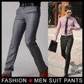 Nuevo traje de hombre de negocios Flat pantalones Casual pantalones Slim vestido de moda coreano, gris / negro 28-33 envío gratis