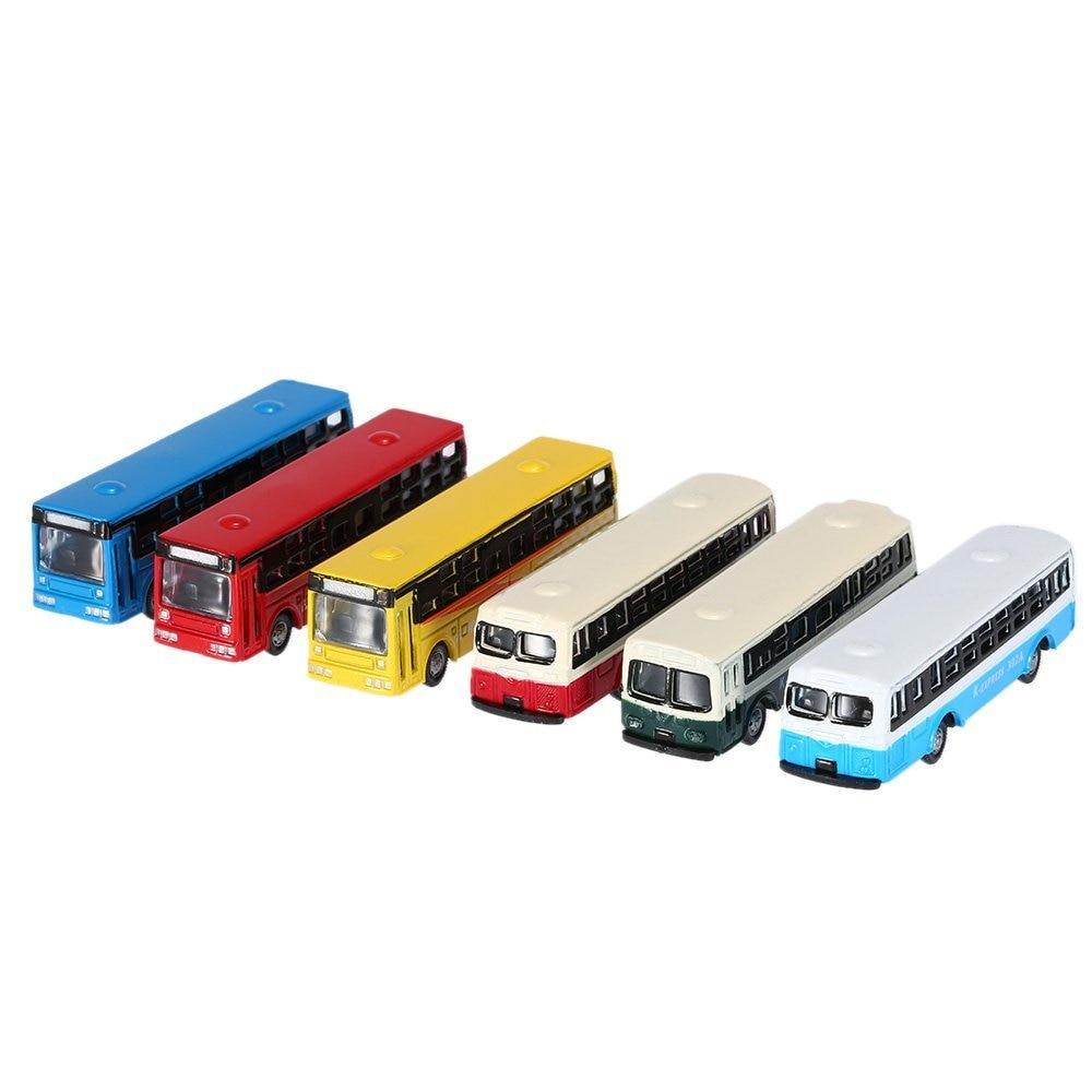 c1cfcd2d48 6 unidades modelo de autobús de aleación vehículo miniatura Damara para  bebé niños 1:150 Básculas