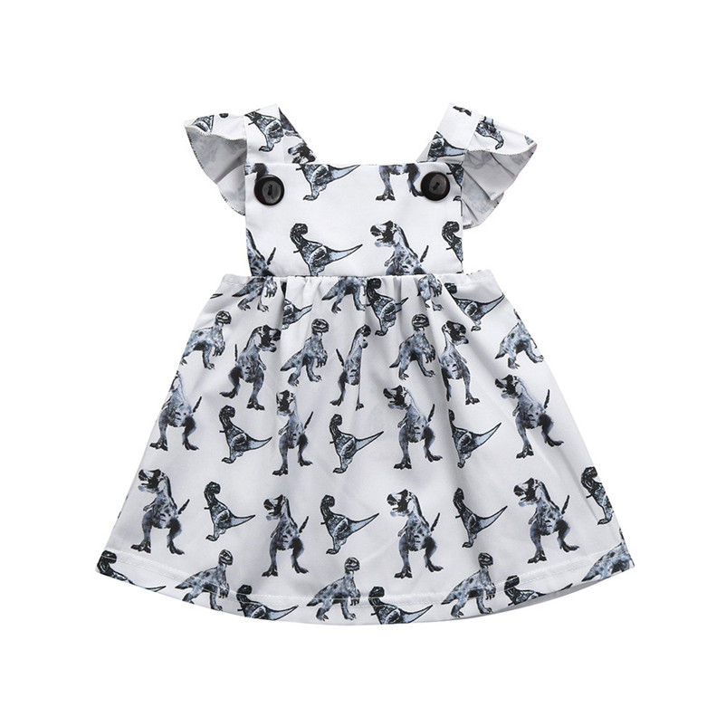 2018 Summer New Baby Girls Infant Toddle Dinosaur Bow Cartoon Clothes Princess girls dress wedding dress Sleeveless P6