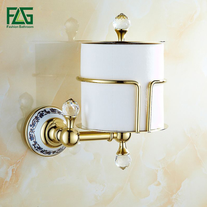 FLG Luxury Crystal Brass Golden Paper Box Toilet Paper Holder WC Paper Holder And Hook Roll Holder Bathroom Accessories G905 flg new modern accessories luxury european style golden copper toothbrush tumbler