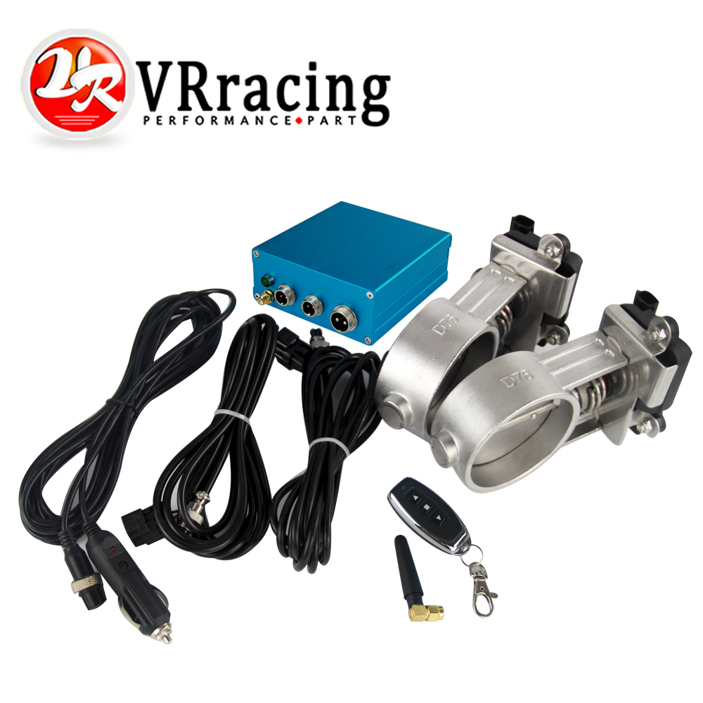 VR RACING - 3/76mm Vacuum Exhaust Cutout Electric Control Valve Kit With Vacuum Pump 2 sets VR-ECV23 vr racing 3 76mm vacuum exhaust cutout electric control valve kit with vacuum pump 2 sets vr ecv23