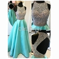 Beaded Sleeveless Evening Dresses Long Vestido De Festa Open Back Weddings Formal Evening Party Prom Dresses 2016 Long Gowns