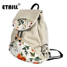 ETAILL Preppy Style Women Chinese Embroidered Backpack Women's Drawstring Backpacks Female Casual Travel Bag Schoolbag Mochila 2018 fashion personality colorful unicorn print casual backpack female drawstring style canvas travel backpack girl backpacks