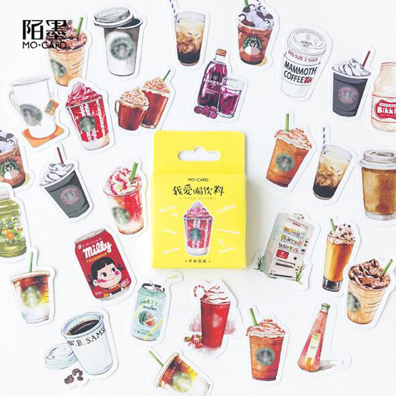 46PCS/box Cute I Love Drinks Diary Paper Lable Sealing Stickers Crafts And Scrapbooking Decorative Lifelog DIY Stationery46PCS/box Cute I Love Drinks Diary Paper Lable Sealing Stickers Crafts And Scrapbooking Decorative Lifelog DIY Stationery
