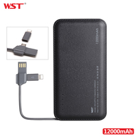 WST 12000mAh High Capacity Portable Power Bank Dual USB Output Leather Powerbank Charger For Iphone Ipad