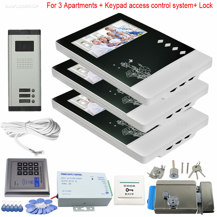 3 Units Video Doorphones Rfid/Code Keypad With Eletronic Lock Video Intercom System Color 4.3 Screen 700TVL CCD Doorbell Camera