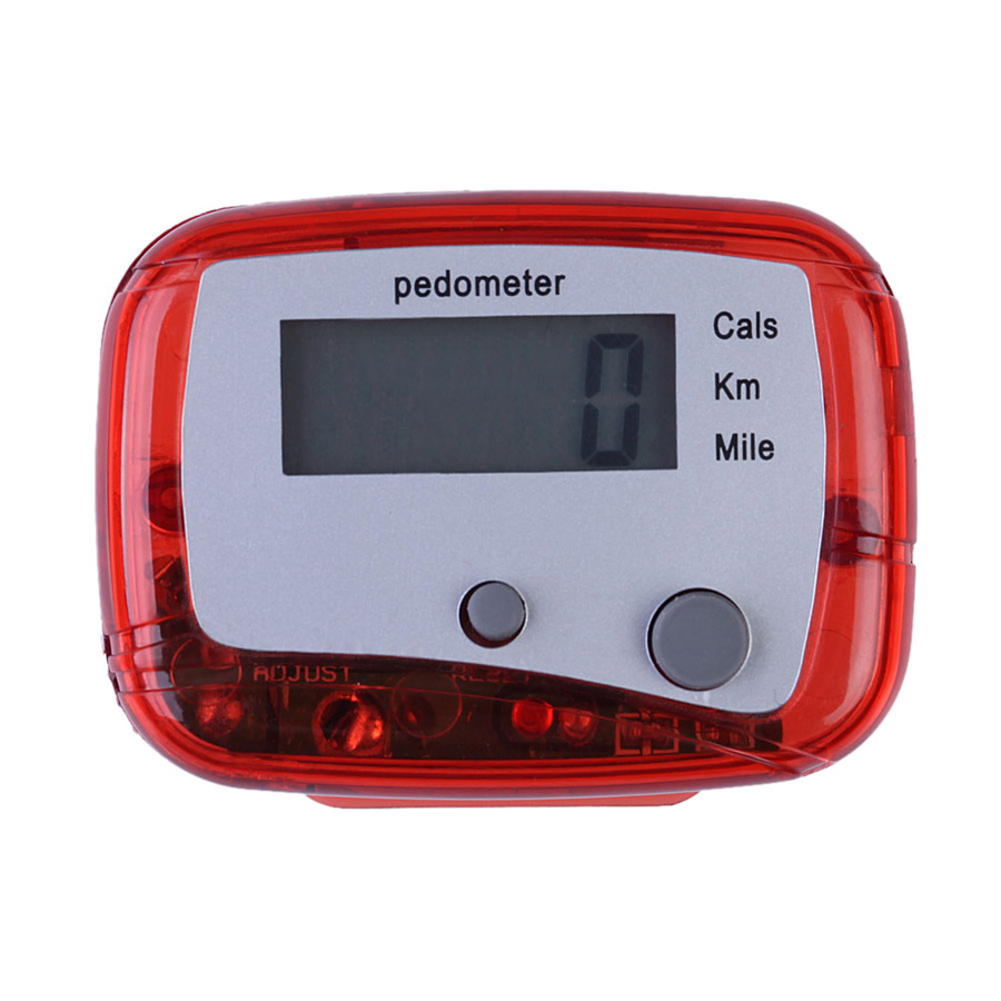 Promotion 1pcs Red Outdoor Multifunction Passometer with Battery Sports Steps Distance Calorie Counter Pedometer High Quality