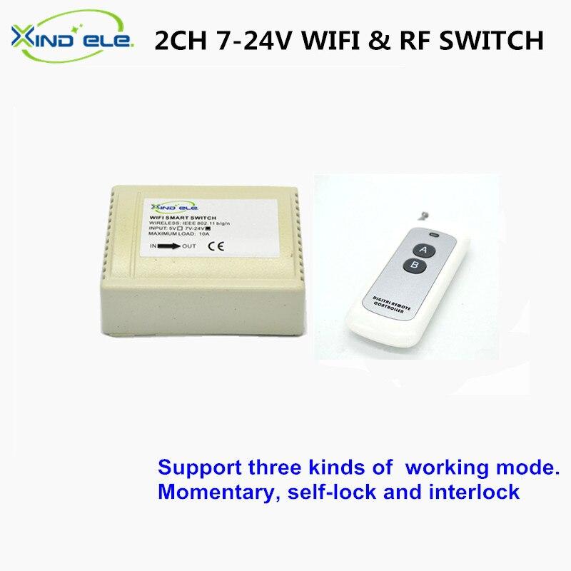 ELE XIND Interruptor de la Luz WiFi 2CH 24 V DC 10A RF Casa Inteligente Interrup