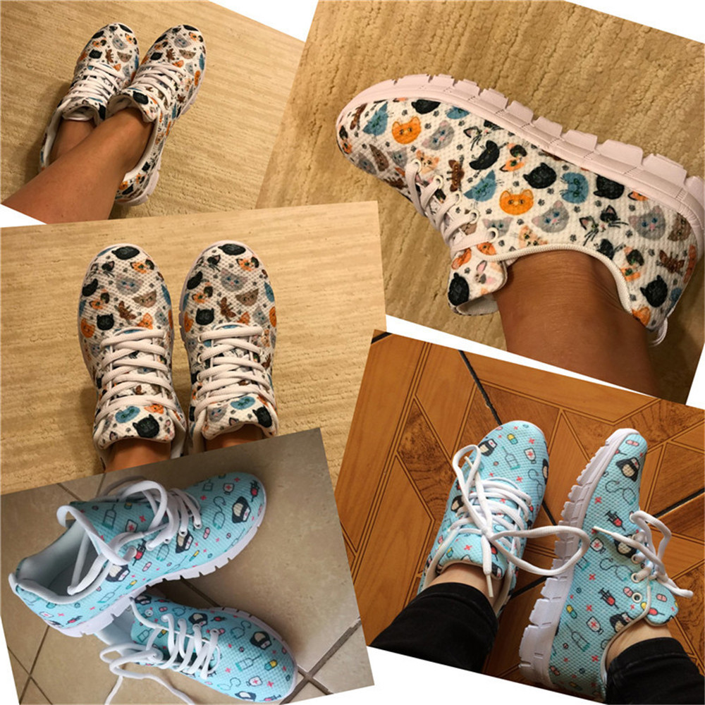 FORUDESIGNS Women 39 s Comfortable Flats Brand Designer Mesh Shoes Veterinary Diagram Print Lace up Sneakers Lady 2019 Summer Shoes in Women 39 s Flats from Shoes