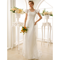 LAN TING BRAUT Mantel Spalte Hochzeit Kleid Kurzen Ärmeln Trägerloses Spitze Sweep Bürsten Zug Mantel Brautkleid mit Einfache