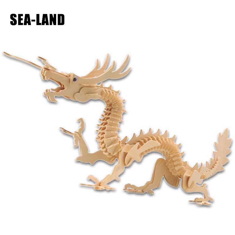 Diy Montessori Education Kids Toy Wooden 3D Puzzle For Children Mythical Animal Chinese Dragon Challenge IQ Hobby Gift For Adult