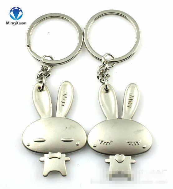 1 paire Couple porte-clés lapin porte-clés argent plaqué amoureux amour porte-clés Souvenirs saint valentin cadeau C359