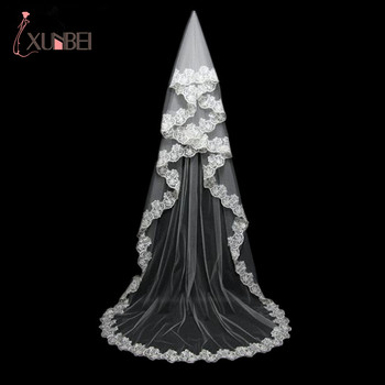 цена на In Stock 2018 Lace Long Wedding Veil White Ivory Bridal Veil New Wedding Accessories Voile Mariage