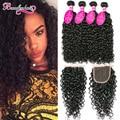 8A Curly Peruvian Virgin Hair With Closure Peruvian Water Wave With Closure 4 Bundles Water Wave Virgin Hair With Lace Closure