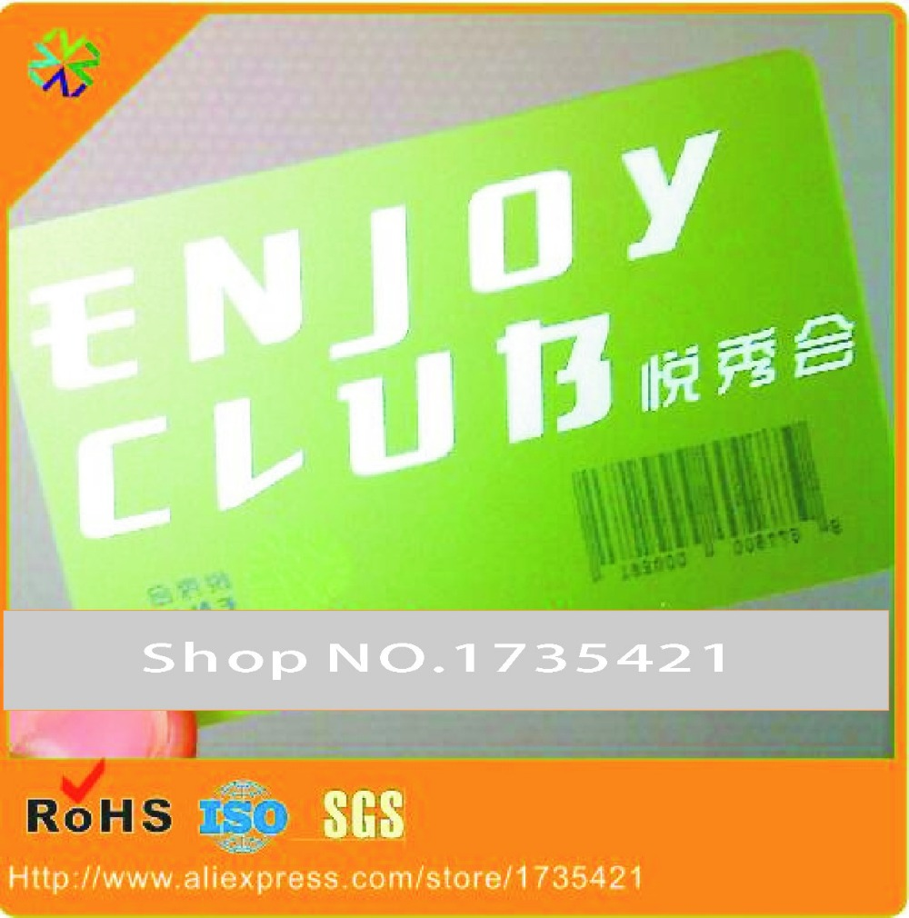 1000pcs/lot)green color transparent business cards with barcode ...