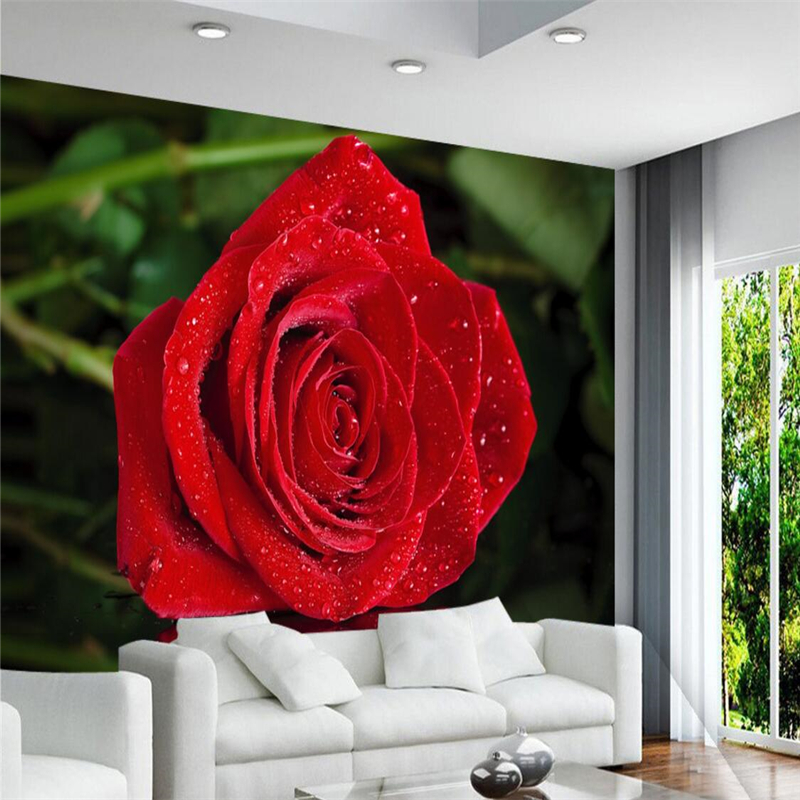 beibehang Wallpaper Mural Wall Sticker Romantic Red Rose Reflection Video Background Wall Decorative Painting papel de parede