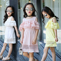Summer Wear New Product Girls Pure Cotton Lace Split Joint Shoulder Short Sleeve Dress Offspring