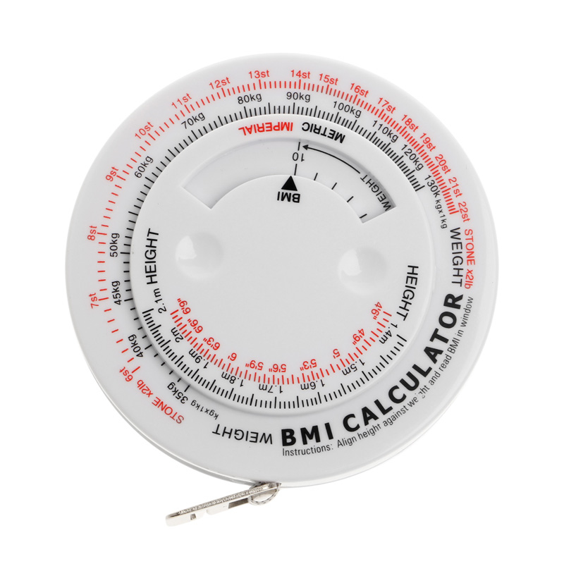 BMI Body Mass Index Retractable Tape 150cm Measure Calculator Diet Weight Loss ...