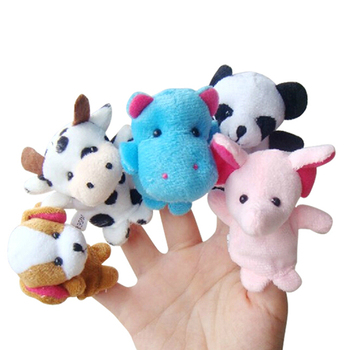 10pcs/set Family Finger Puppets Stuffed Plush Cloth Doll Baby Educational Hand Animal Cute Toy Kids Birthday Gifts Funny Games