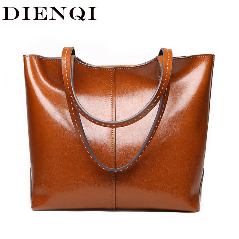 DIENQI 2018 New Female Genuine Leather Shoulder Bags Luxury Women Leather Handbags Ladies Big Designer Brown
