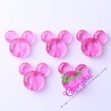 Envío Gratis 50 unids/lote 34*37mm Hot Pink Color Chunky Acrílico Ratón Para el Collar de la Joyería Que Hace