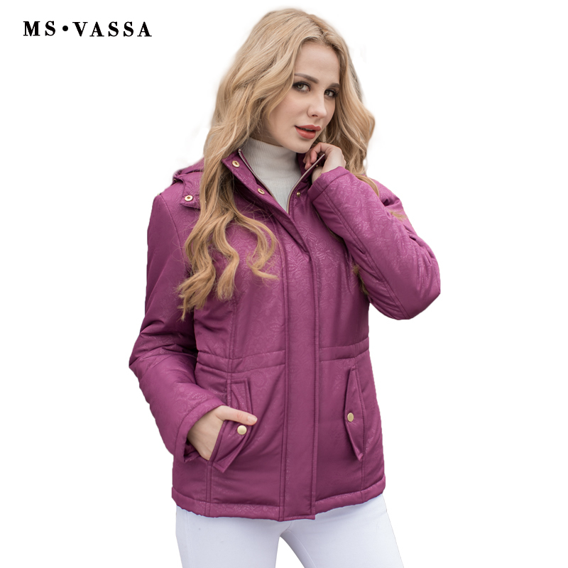 MS VASSA Women Parkas 2017 New Autumn Winter padded jacket plus size 5XL 7XL stand up collar detachable hood ladies outerwear цена