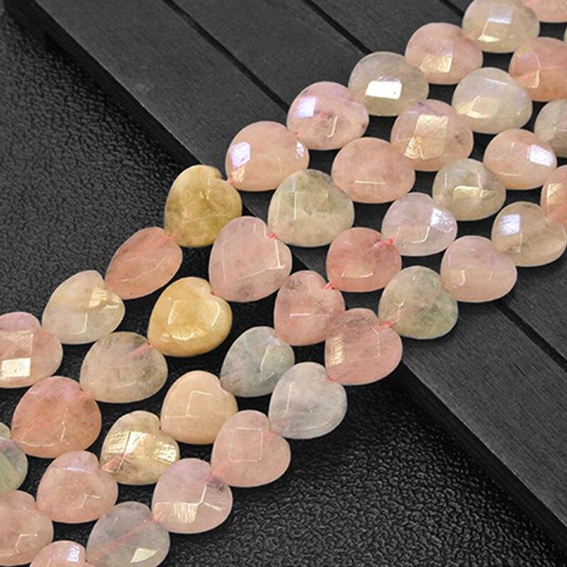 12 мм/14 мм граненый в форме сердца моргановый натуральный камень бусины для изготовления бижутерии браслеты 15 рукоделие DIY Бусины Брелок