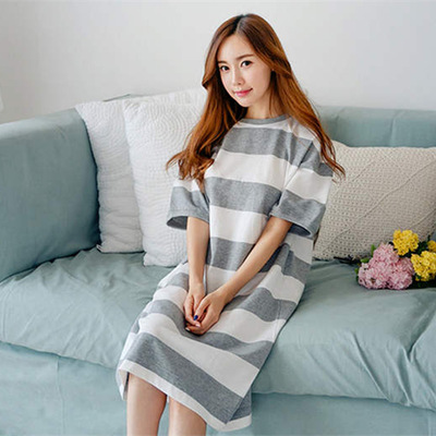 2643024a5da3e Pengpious 2019 Summer Fashion Maternity Breastfeeding Nightgown Plus Size  Postpartum Women Striped Cotton Nursing Nightdress