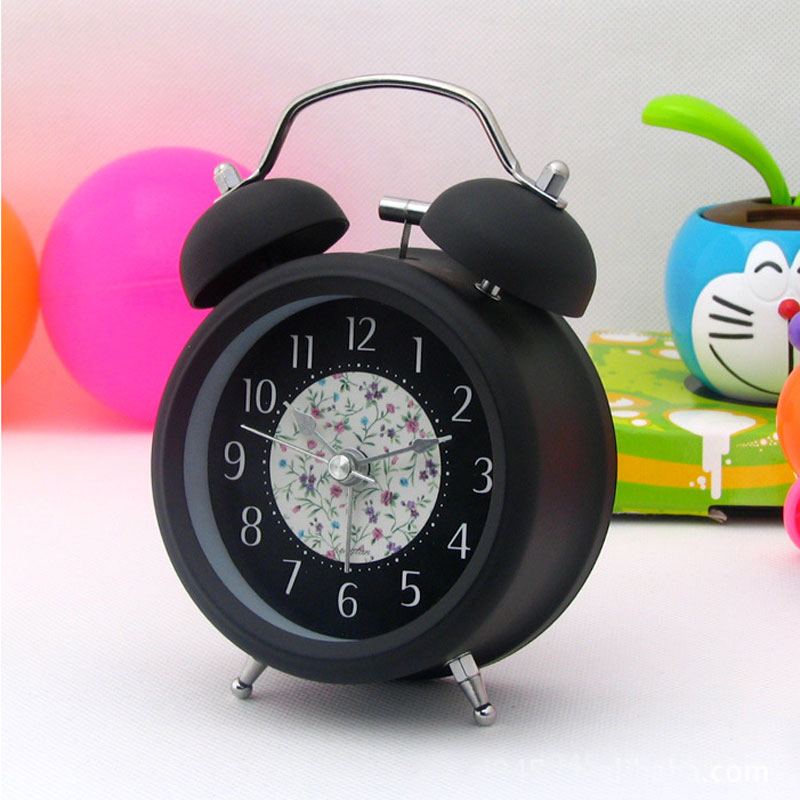 Classic Mini 3 inch Metal Double Bell Desk Table Alarm Clock Silent Quartz clock with Nightlight