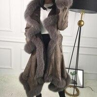 Best продажи осень зима Для женщин s Мех животных замши один штук куртка и пальто верхняя одежда, длинные рукава теплые роскошные Меховые паль