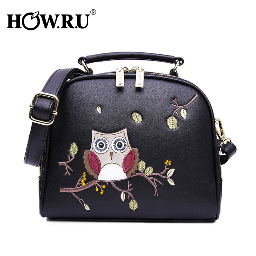HOW R U Luxury Embroidery Owl Handbag Designer Cartoon Woman Bags PU Leather Crossbody Bags for