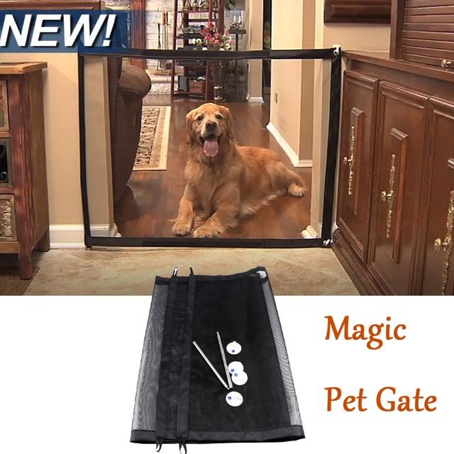 2018 קסם שער חיות מחמד חתלתול הניתן לנעילת כלב קל להתקין בכל מקום לחיות מחמד בטיחות מארז הגאוני Mesh משמר כלבים בטוחה לשוער