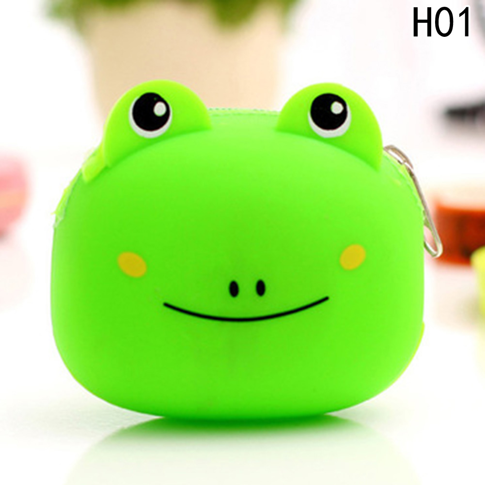 2017 New Fashion Lovely Cute Candy Color Cartoon Animal Women Girls Wallet Multicolor Jelly Silicone Coin Bag Purse Kid Gift